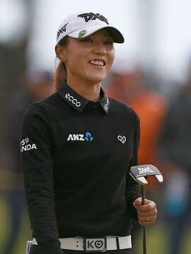 DALY CITY, CA - APRIL 28:  Lydia Ko of New Zealand smiles after making a birdie putt on the 16th hole during the third round of the Mediheal Championship at Lake Merced Golf Club on April 28, 2018 in Daly City, California.  (Photo by Matt Sullivan/Getty Images)