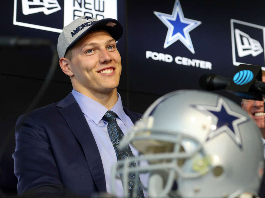 Dallas Cowboys first round draft pick Leighton Vander Esch smiles during an NFL football press conference Friday, April 27, 2018, in Frisco. (AP Photo/Richard W. Rodriguez)