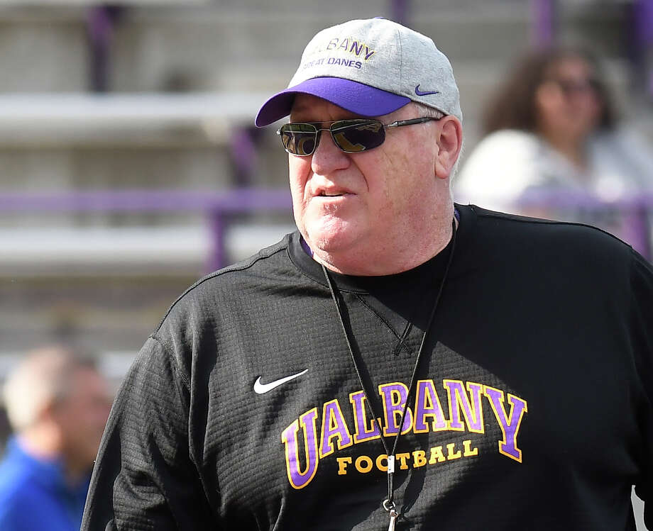 University at Albany head coach Greg Gattuso during their annual spring intrasquad scrimmage football game Saturday, April 28, 2018, in Albany, N.Y. (Hans Pennink / Special to the Times Union) Photo: Hans Pennink / Hans Pennink