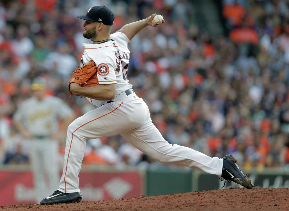 Houston Astros starting pitcher Lance McCullers Jr. (43) pitches in the third inning against the Oakland Athletics  at Minute Maid Park on Saturday, April 28, 2018, in Houston. Astros are behind in the series 1-0. Photo: Elizabeth Conley, Houston Chronicle / © 2018 Houston Chronicle