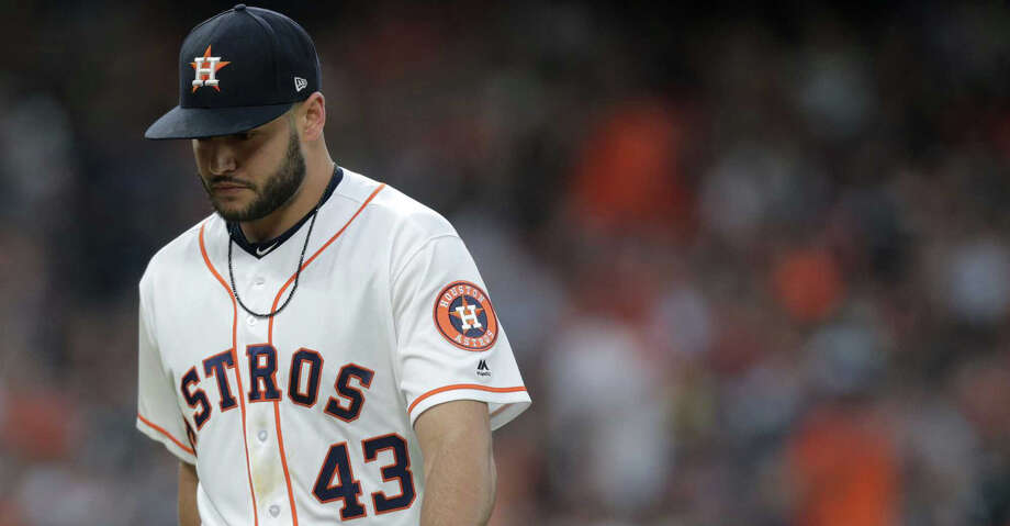 Houston Astros starting pitcher Lance McCullers Jr. (43) leaves the mound at half of the fifth inning against the Oakland Athletics at Minute Maid Park on Saturday, April 28, 2018, in Houston. ( Elizabeth Conley / Houston Chronicle ) Photo: Elizabeth Conley/Houston Chronicle