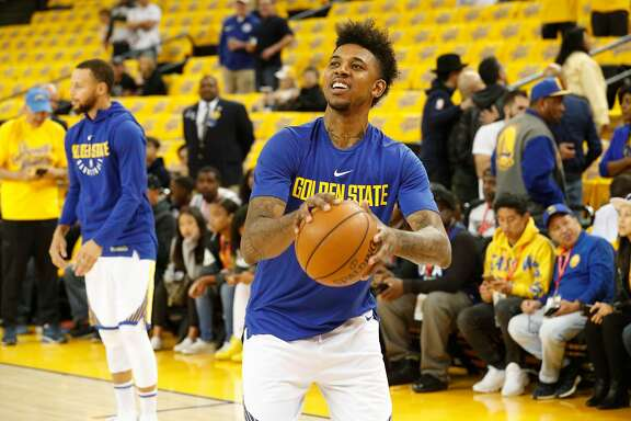 Warriors Nick Young, 6 as the Golden State Warriors prepare to take on the New Orleans Pelicans in game one of the second round  playoffs of the Western Conference finals at Oracle Arena in Oakland, Ca. on Sat. April 28, 2018.
