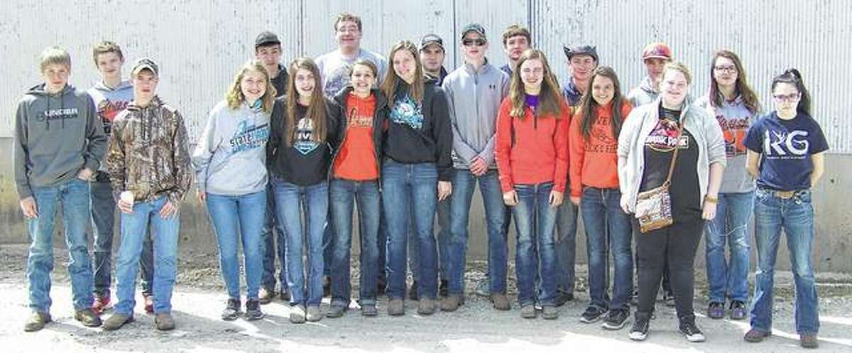 Franklin FFA members recently participated in the Section 13 livestock judging contest, with the varsity team finishing in fourth place and the Greenhand team finishing in third place. Mollie Allen placed fifth and Bethany Bergschneider placed 10th overall for Greenhands. Kayla Keaton placed 10th overall for varsity judging. Members also participated in the Section 13 horticulture judging contest, with the varsity team finishing in third place. Luke Bergschneider placed seventh and Samantha Mies placed 10th in individual varsity competition. Mollie Allen placed fifth in individual competition in the Greenhand division. The team of Samantha Mies, Kala Keeton, Abby Crow and Mollie Allen also finished in third place in cattle fitting team competition. Franklin FFA members include Luke Schumacher (from left), Codey Smith, Levi Brown, Bethany Bergschneider, Andrew McGath, Kacey Tillery, Jacob Awe, Mollie Allen, Abby Crow, Colin Tillery, Jackson Smith, Adam Morris, Kayla Keaton, Luke Bergschneider, Samantha Mies, Jared Miller, Alyssa Kennedy, Zoe Graves and Issabella Borcky.