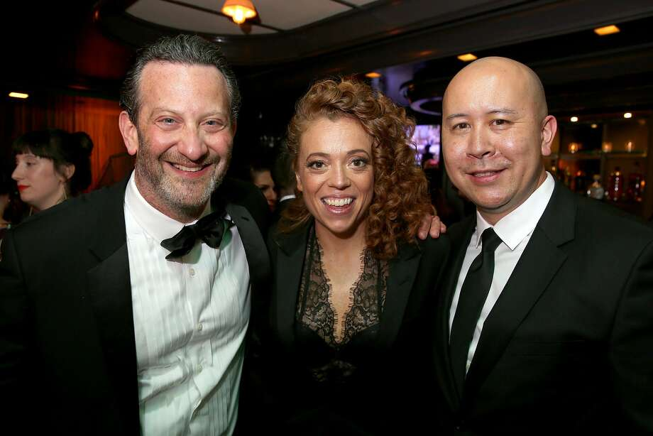 Comedian Michelle Wolf (center) with Lou Wallach (left) and Brandon Riegg. Photo: Tasos Katopodis / Getty Images For Netflix