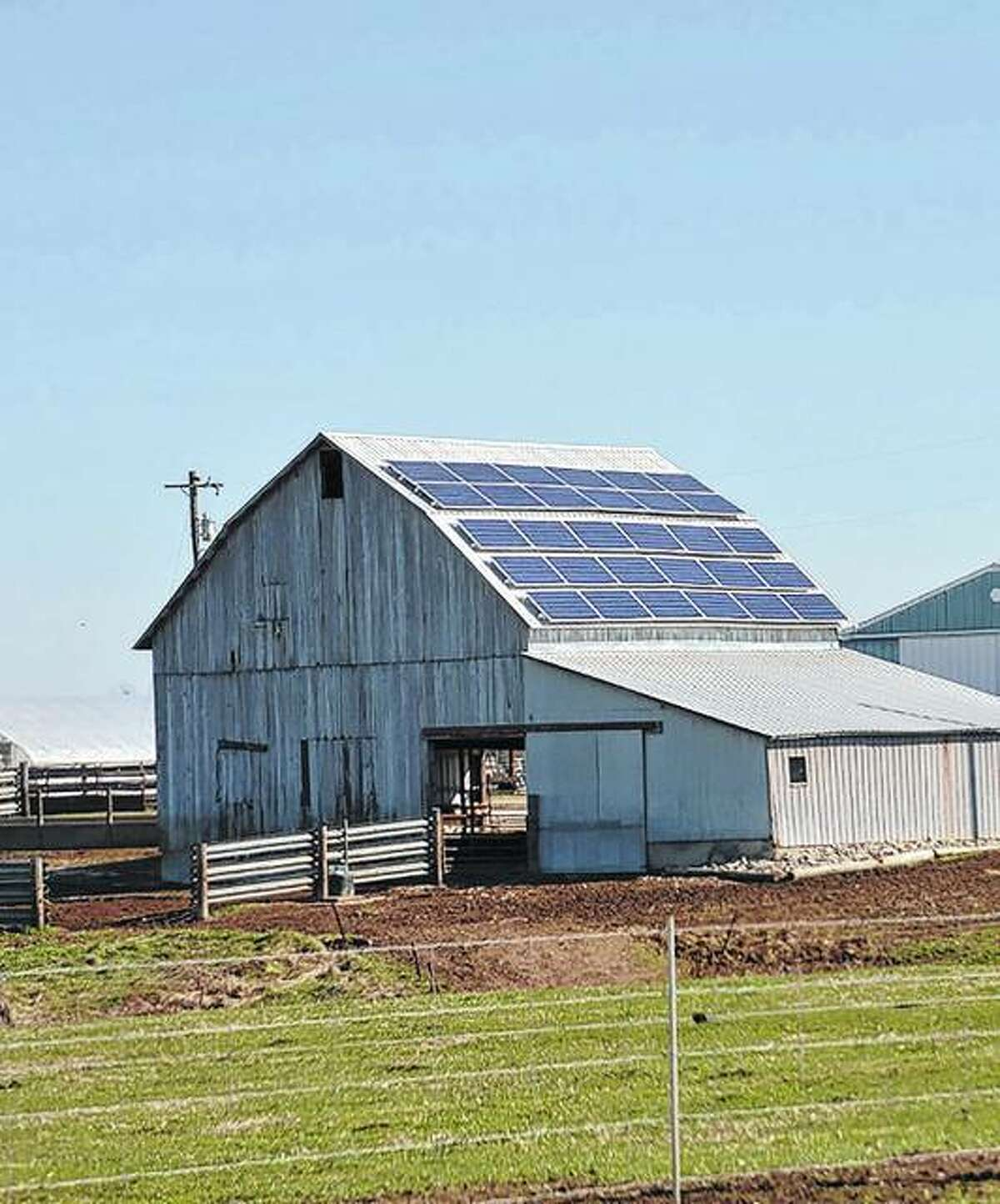 A solar array can be seen on a barn at Rhodes Farm on Illinois Route 108 in Macoupin County. It faces south, collecting sunlight and converting it into usable energy for the farm.