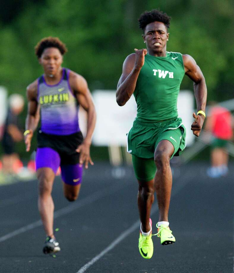 In this file photo, The Woodlands' KeSean Carter took first in the boys 100-meter dash during the District 12-6A high school track meet at College Park High School, Thursday, April 12, 2018, in The Woodlands. Photo: Jason Fochtman, Staff Photographer / © 2018 Houston Chronicle