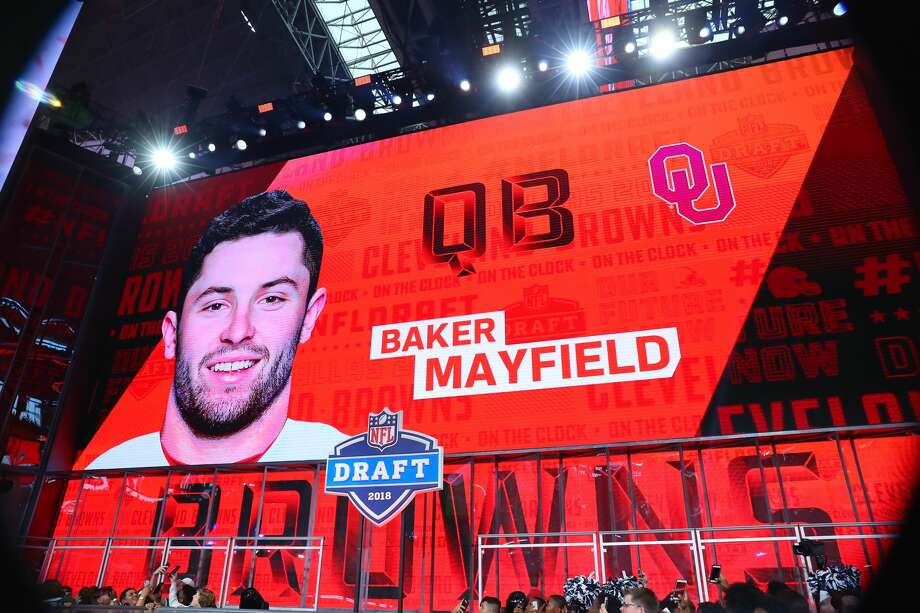 ARLINGTON, TX - APRIL 26:  Baker Mayfield on the video board selected by the Cleveland Browns with the First Overall pick in the First Round of the 2018 NFL Draft on April 26, 2018 at AT&T Stadium in Arlington Texas.  (Photo by Rich Graessle/Icon Sportswire via Getty Images) Photo: Icon Sportswire/Icon Sportswire Via Getty Images