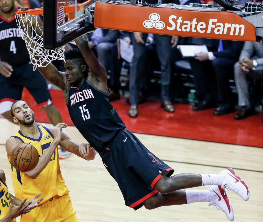 Rockets center Clint Capela had his third straight double-double in Sunday's Game 1 win over the Jazz at Toyota Center. Photo: Michael Ciaglo, Houston Chronicle / Michael Ciaglo