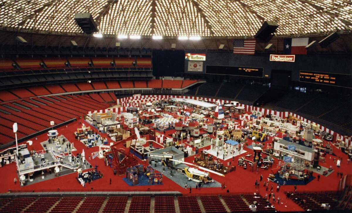 May 5, 1986: Offshore Technology Conference exhibits on the floor of the Astrodome.