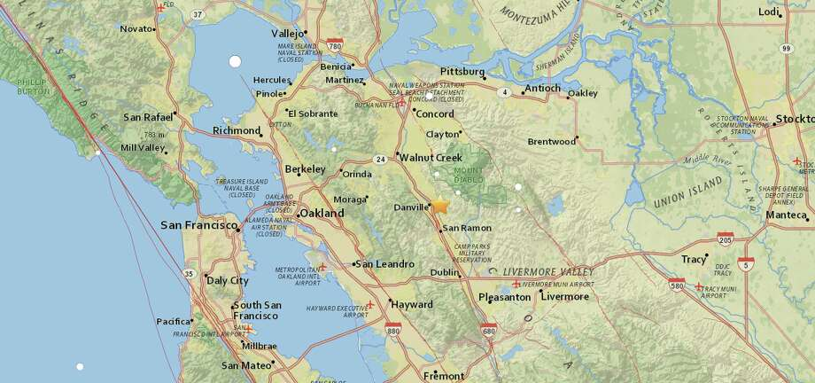 A map shows the epicenter of another earthquake that struck the Danville, Calif. area Sunday. Photo: Courtesy United States Geological Survey
