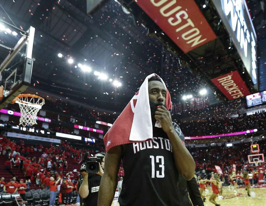 Houston Rockets guard James Harden (13) walks off the court after the Rocket 110-96 win over the Utah Jazz in Game 1 of an NBA basketball second-round playoff series at Toyota Center on Sunday, April 29, 2018, in Houston. ( Brett Coomer / Houston Chronicle ) Photo: Brett Coomer, Staff / Houston Chronicle / © 2018 Houston Chronicle