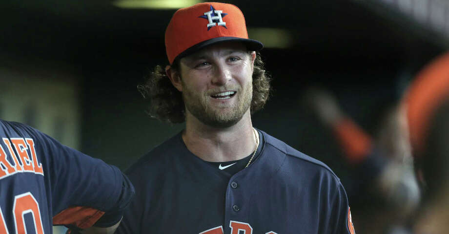 Houston Astros starting pitcher Gerrit Cole (45) in the dugout  between inning against the Oakland Athletics  at Minute Maid Park on Sunday, April 29, 2018, in Houston. Cole ended the game with 12 strikeouts. ( Elizabeth Conley / Houston Chronicle ) Photo: Elizabeth Conley/Houston Chronicle