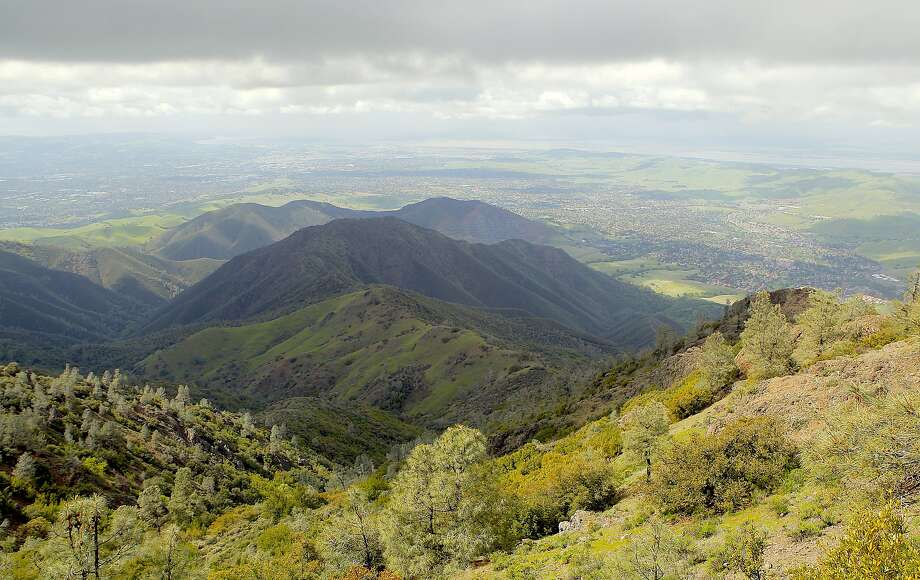 Mount Diablo's Mitchell Canyon in foreground, in shadow and light with high overcast, looking toward the delta. Photo: Tom Stienstra, Tom Stienstra / The Chronicle