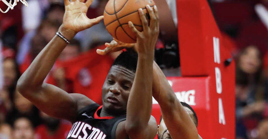 Houston Rockets center Clint Capela (15) pulls down a rebound against the Utah Jazz during the second half in Game 1 of an NBA basketball second-round playoff series at Toyota Center on Sunday, April 29, 2018, in Houston. ( Brett Coomer / Houston Chronicle ) Photo: Brett Coomer/Houston Chronicle