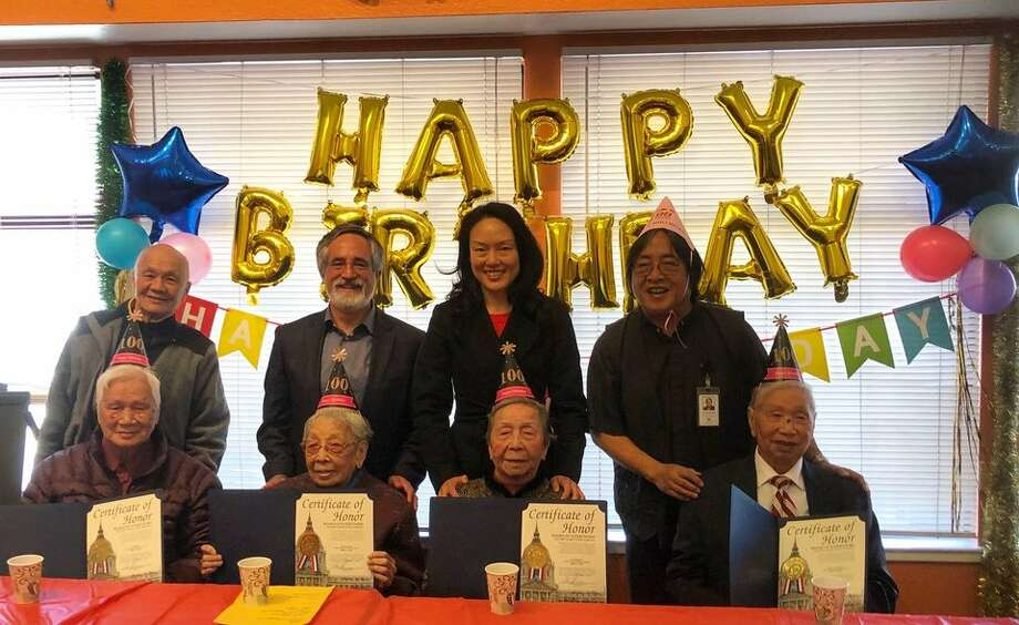 Chiu Ping Lee, Phat Lam Hoang, Pak Ling Yu and Kam Ha Kong celebrated their birthdays with District 3 Supervisor Aaron Peskin, District 6 Supervisor Jane Kim and CCDC executive director Norman Fong. Photo: Tan Chow/CCDC Via Hoodline