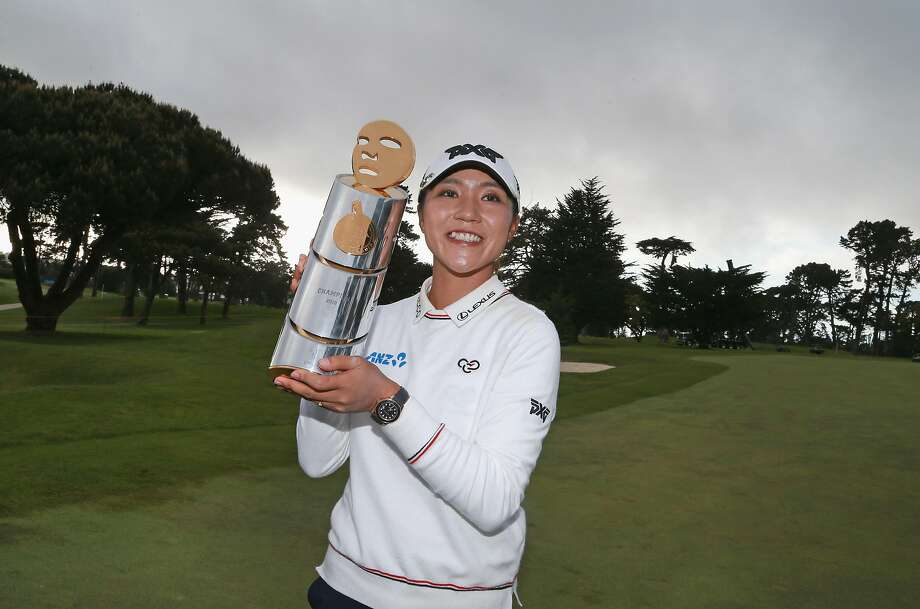 Lydia Ko of New Zealand poses with the trophy after winning the Mediheal Championship at Lake Merced Golf Club on April 29, 2018 in Daly City, California. Photo: Matt Sullivan / Getty Images