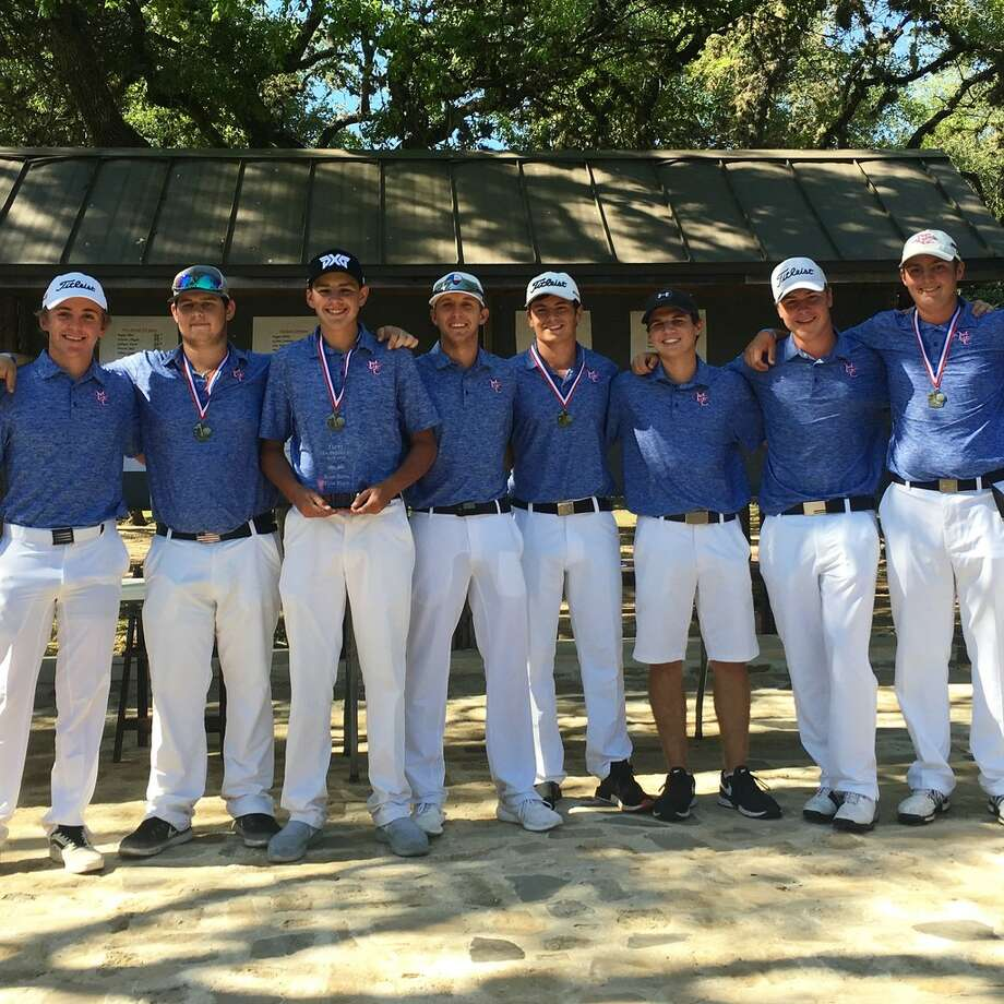 The Midland Christian boys golf team poses with its team championship award after winning the TAPPS 1-5A district title, April 16 at Grey Rock Golf Course in Austin. The golfers pictured, from left to right, are Tommy Moore, Zant Holloman, Richman Houston, Davis Easley, Joe Smith, Clay McCann, Landon Parish and Robby Massey. Courtesy photo