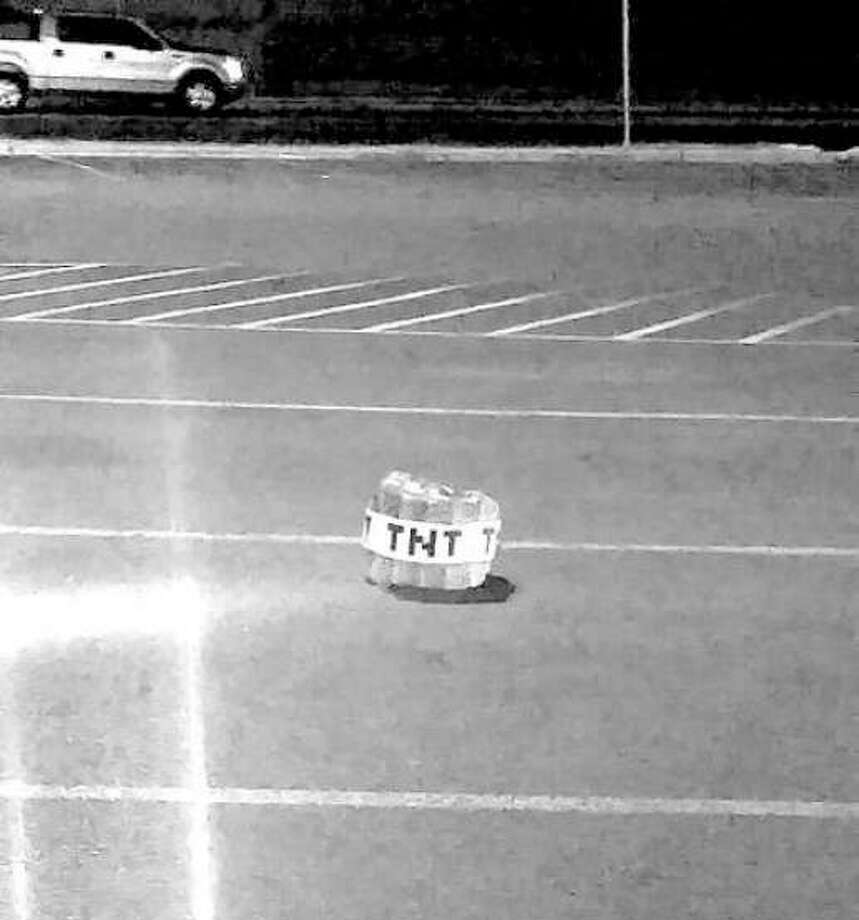 Officers found a Minecraft TNT novelty pillow after responding to reports of a suspicious package at the H-E-B on Calton Road and San Dario Avenue. Photo: Steven Hernandez