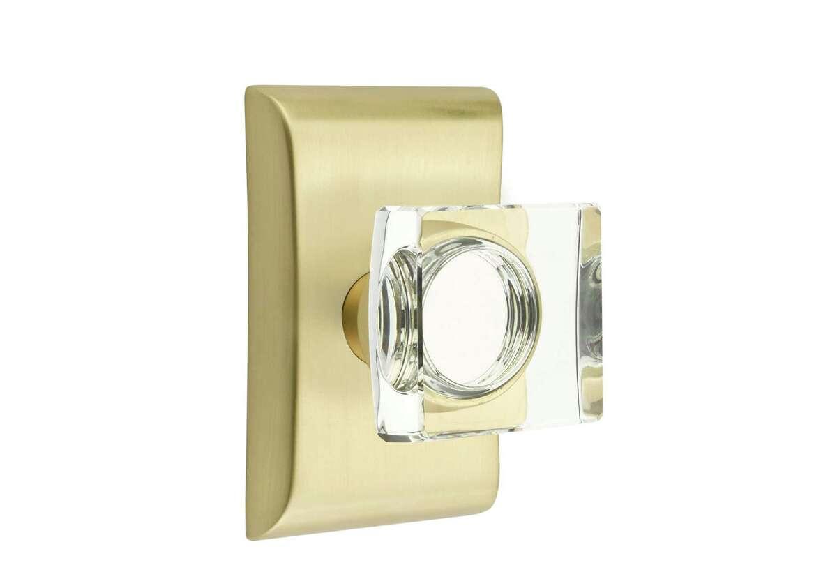 Emtek's Modern crystal and brass door knob. Available at Bering's.