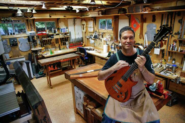Stephen Marchione, owner of Marchione Guitars, makes about 50 high-end guitars a year out of his shop in the Montrose area.