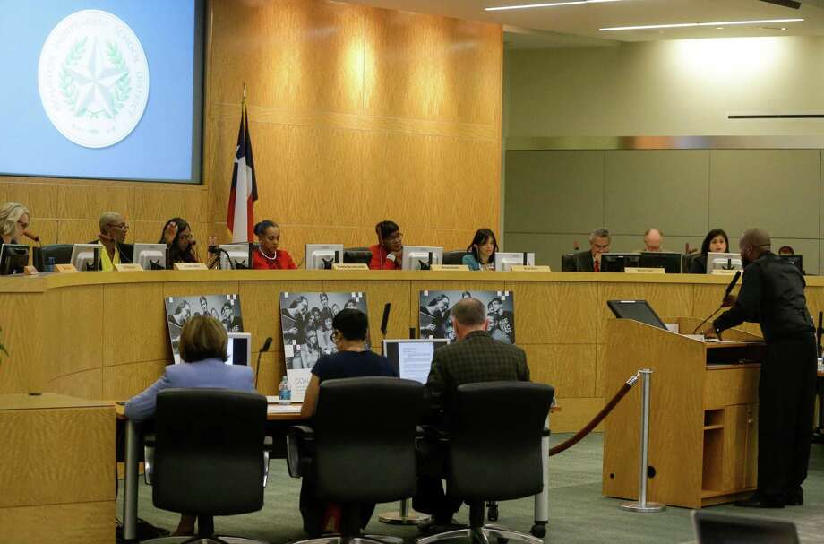 A parent speaks to the Houston ISD board of trustees during a 2018 meeting. Twenty years of research shows that high-achieving school boards hold a clear vision of high academic expectations. Importantly, effective boards share beliefs about what is possible for all children and their ability to learn. Photo: Melissa Phillip / Houston Chronicle