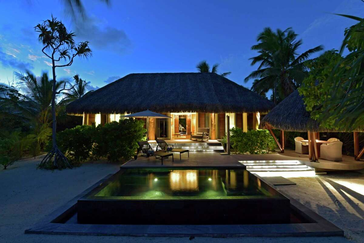 Each villa at The Brando resort in French Polynesia has a private pool looking out to the beach.