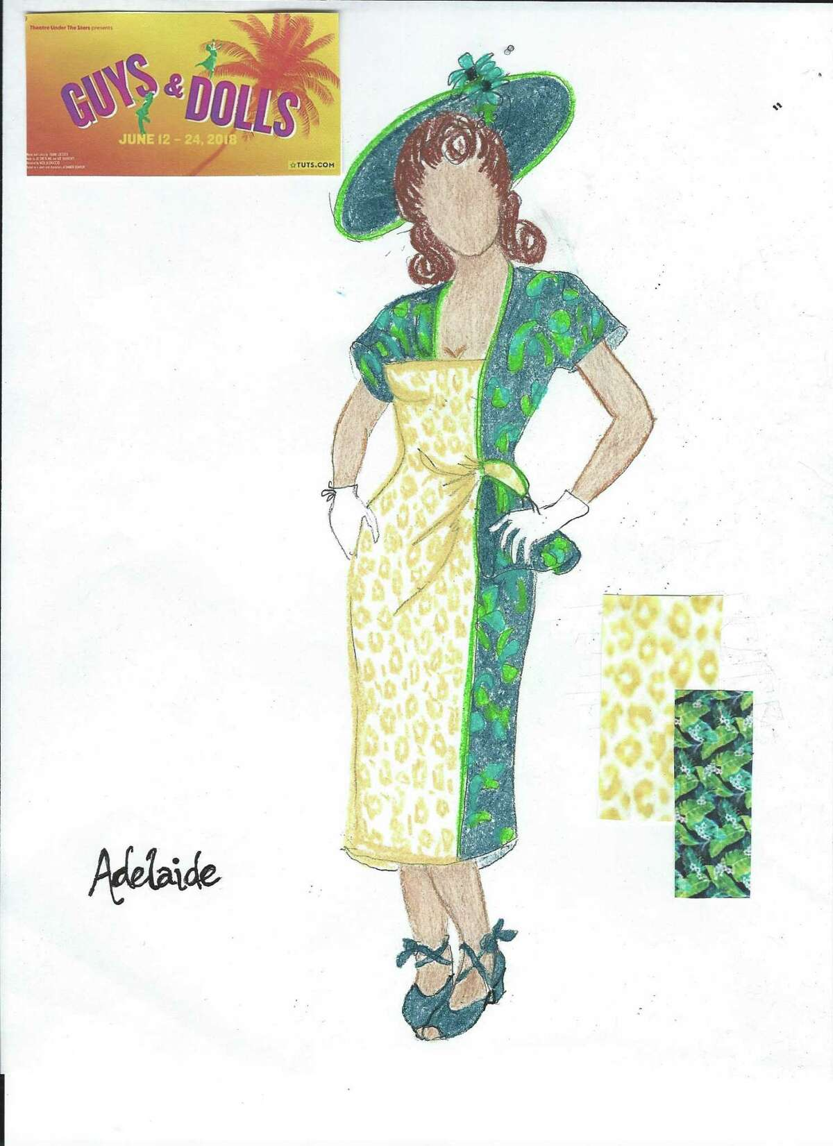 """A rendering of the costume for Adelaide in Theatre Under the Stars' upcoming production of """"Guys and Dolls"""""""