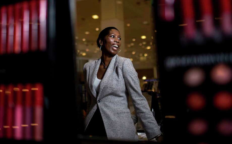 Rhona Samuels, who is an Armani Beauty global makeup artist, laughs during a portrait session at the Galleria, Tuesday, Feb. 27, 2018, in Houston.  ( Jon Shapley / Houston Chronicle ) Photo: Jon Shapley, Houston Chronicle / © 2018 Houston Chronicle