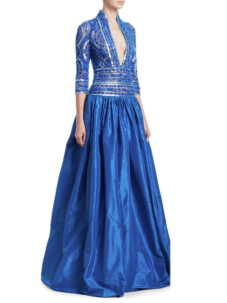 Naeem Khan embellished V-neck gown; $5,995, Saks Fifth Avenue