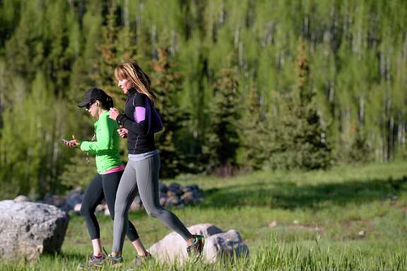 A morning outdoor cardio class in Vail, Colo.