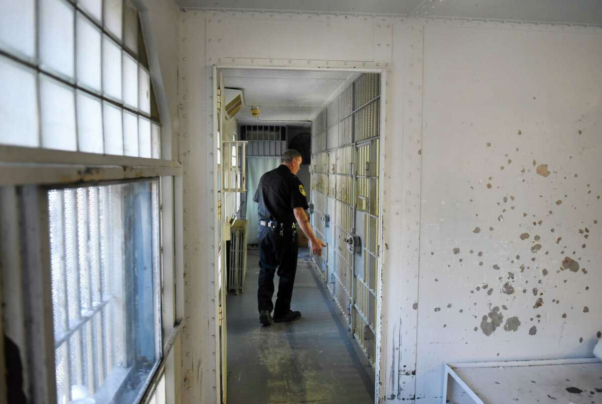 Greene County Jail Superintendent Mike Spitz looks over the third floor jail cells on Tuesday, April 24, 2018, in Catskill, N.Y. Sheriff Gregory Seeley shut down his jail late last week, sending all of his prisoners to neighboring county jail because of the decaying state of the structure. The sheriff and Greene County are at odds over details of a new jail. (Will Waldron/Times Union)