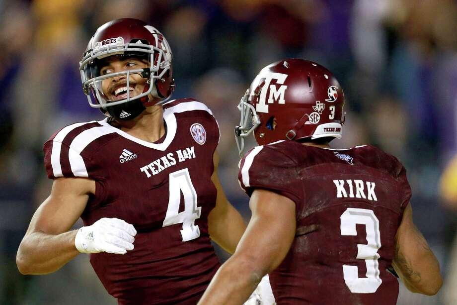 BATON ROUGE, LA - NOVEMBER 25:  Damion Ratley #4 of the Texas A&M Aggies reacts with Christian Kirk #3 of the Texas A&M Aggies after scoring a touchdown against the LSU Tigers during the second half of a game at Tiger Stadium on November 25, 2017 in Baton Rouge, Louisiana. LSU won the game 45 - 21.  (Photo by Sean Gardner/Getty Images) Photo: Sean Gardner, Stringer / Getty Images / 2017 Getty Images