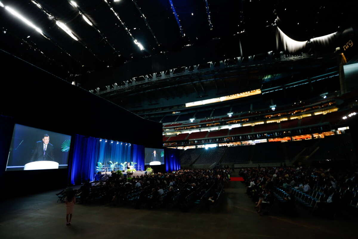 Patrick Pouyanne, chairman and CEO, Total, speaks during the opening ceremony of the Offshore Technology Conference at Reliant Stadium on Monday, April 30, 2018 in Houston.