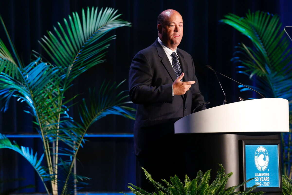 ConocoPhillips Chairman and CEO Ryan Lance speaks during the opening ceremony of the Offshore Technology Conference at Reliant Stadium on Monday, April 30, 2018 in Houston.