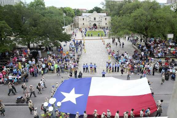 Alamo Plaza is festive during the Battle of Flowers Parade in Alamo Plaza on April 27, 2018.