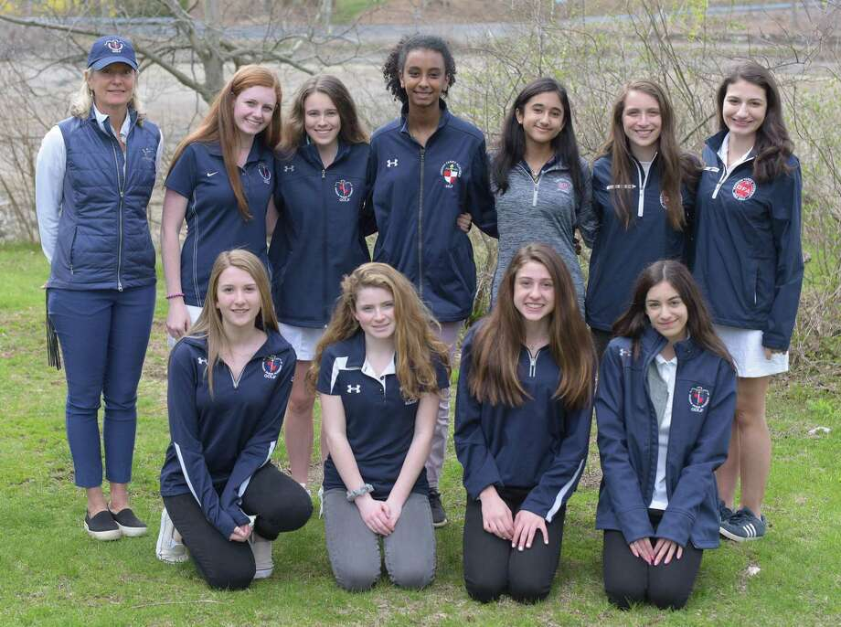 The Greens Farms Academy girls golf team won its first-ever match with a 3-2 win over Holy Child last week, highlighting a busy week of sports action for the Dragons. Photo: Greens Farms Academy Athletics