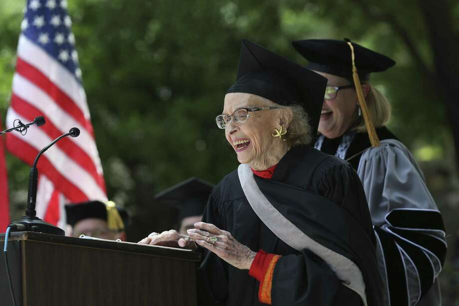 Southwest School of Art founder Edith McAllister, 100, smiles after addressing the graduates during the school's inaugural commencement on the campus grounds, April 29, 2018. McAllister died July 1 and her funeral service will be today, July 9, at First Presbyterian Church downtown. Photo: Jerry Lara /San Antonio Express-News / San Antonio Express-News