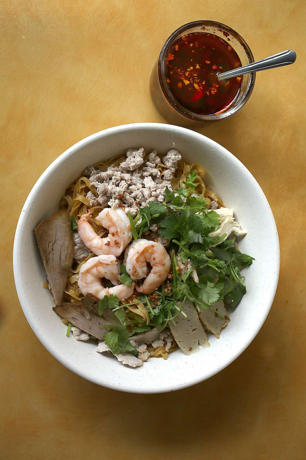 Mi Hai Ky--house special egg noodle soup--Hai Ky Mi Gia, a Vietnamese-Chinese restaurant on Friday, April 27, 2018, in San Francisco, Calif.