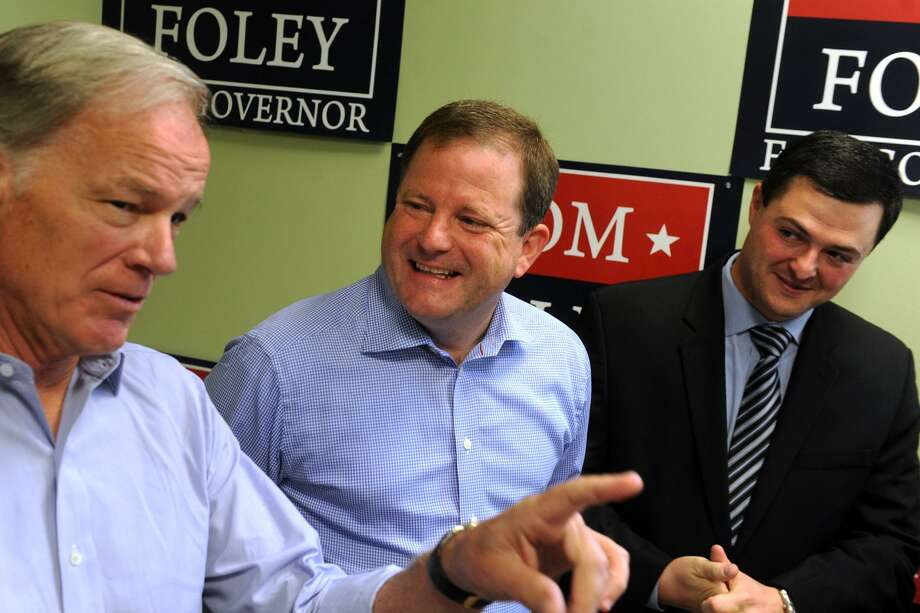 Tom Foley at a 2014 press conference in Trumbull with State Sen. John McKinney and Trumbull First Selectman Tim Herbst. McKinneyhas endorsed Tim Herbst, who is seeking the Republican nomination for governor. Photo: Ned Gerard / Hearst Connecticut Media File / Connecticut Post