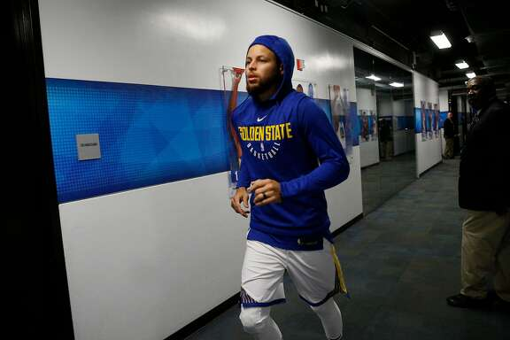 Warriors Stephen Curry, 30 from the locker room as the Golden State Warriors prepare to take on the New Orleans Pelicans in game one of the second round  playoffs of the Western Conference finals at Oracle Arena in Oakland, Ca. on Sat. April 28, 2018.