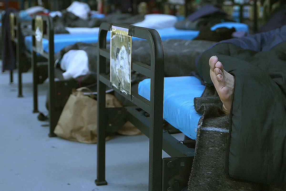 Men's bedding area at the latest Navigation Center, a one-stop comprehensive shelter aimed at quickly housing the homeless, on Monday, July 17, 2017 in San Francisco, Calif.