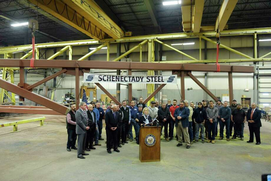 Senator Kirsten Gillibrand, at podium, is surrounded by employees of Schenectady Steel Company and elected officials, on Monday, April 30, 2018, in Rotterdam, N.Y. Senator Gillibrand was at the company to announce her bipartisan legislation, the Main Street Employee Ownership Act, which would support small businesses that invest in their workers and communities by transitioning to an Employee Stock Ownership Plan (ESOP) or a cooperative (co-op). Schenectady Steel Company is an early adopter of the Employee Stock Ownership Plan.  (Paul Buckowski/Times Union) Photo: PAUL BUCKOWSKI, Albany Times Union / (Paul Buckowski/Times Union)