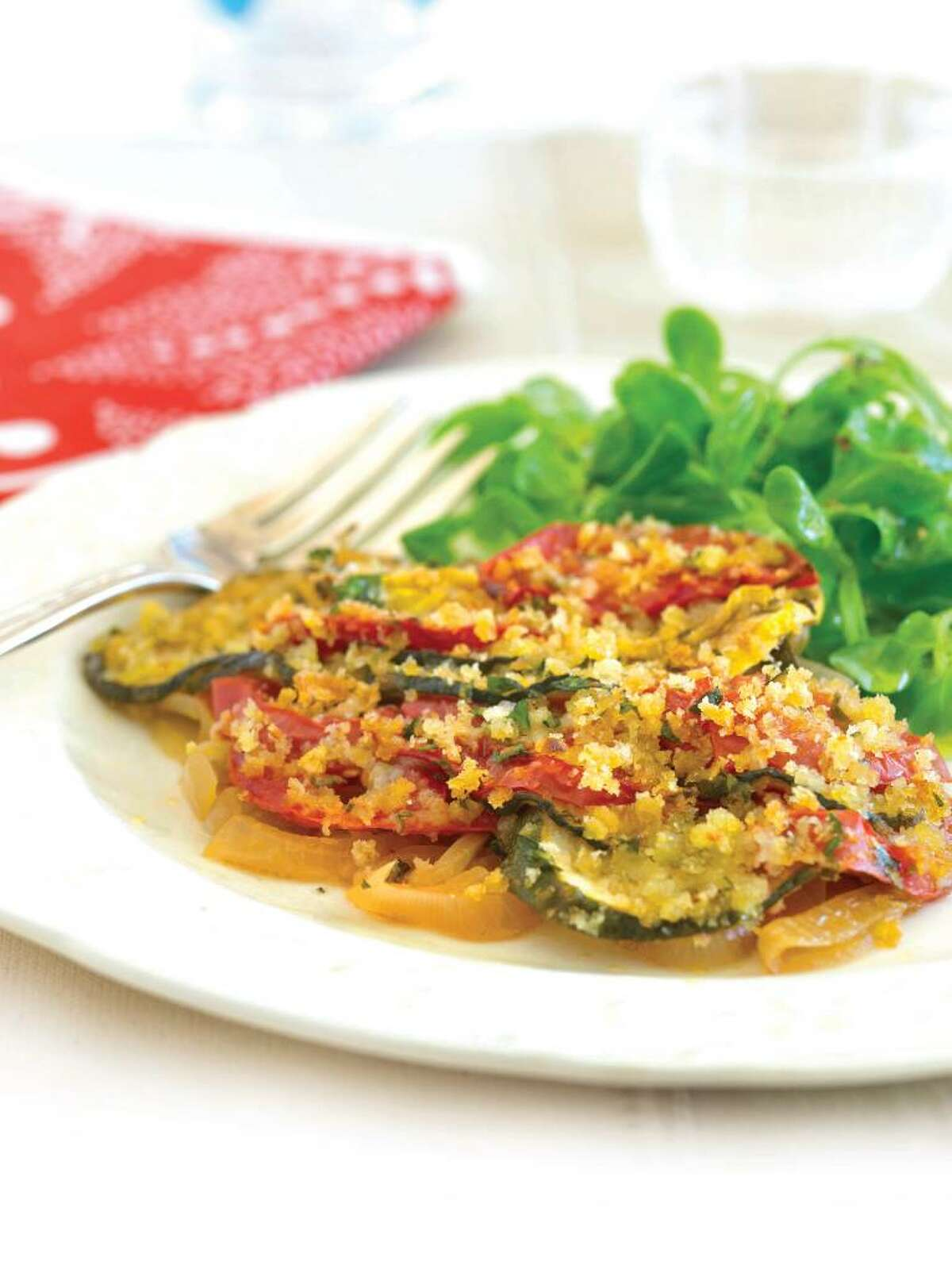 Summer Vegetable and Tomato Tian with Parmesan Bread Crumbs