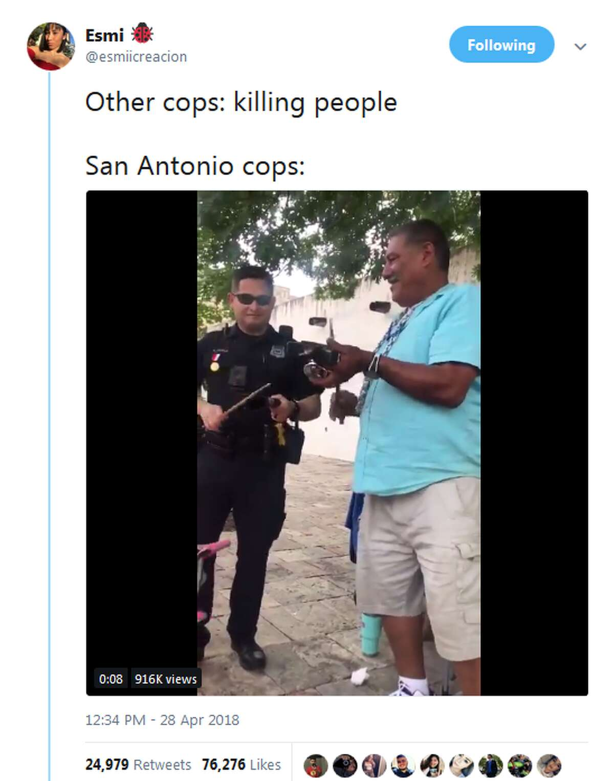 When San Antonio needed more cowbell This cop delivered. See the video here.