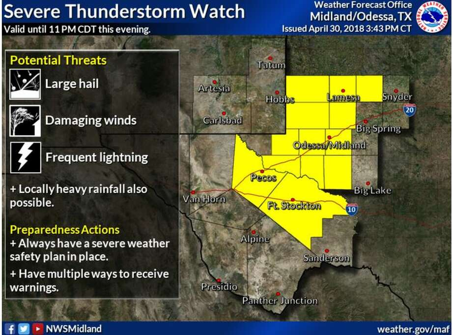 TheNWS Midland/Odessa has issued a severe thunderstorm watch warning valid until 11 p.m. this evening. Photo: NWS Midland/Odessa