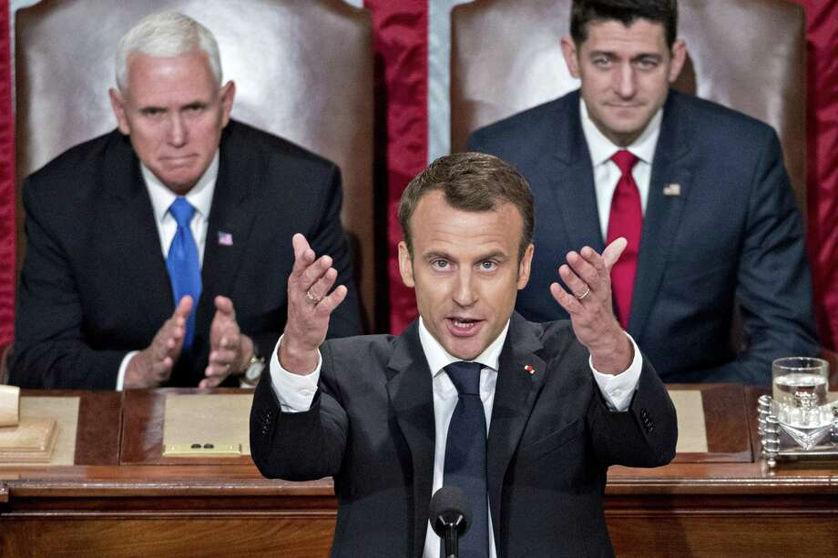 French President Emmanuel Macron speaks to a joint meeting of Congress last week. Maybe Macron chooses to act with decency for the good of France and the world because he knows the stakes are too high to do otherwise. Photo: Andrew Harrer /Bloomberg / © 2018 Bloomberg Finance LP