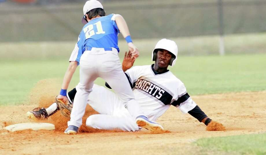 Steele's Quincy Cooper, right, slides into second under the tag of Clemens second basemen Tanner Hester (21). Steele scored nine runs in the first inning to cruise past Clemens 11-1 on Friday. Photo: Lavon Brown / For The NE Herald