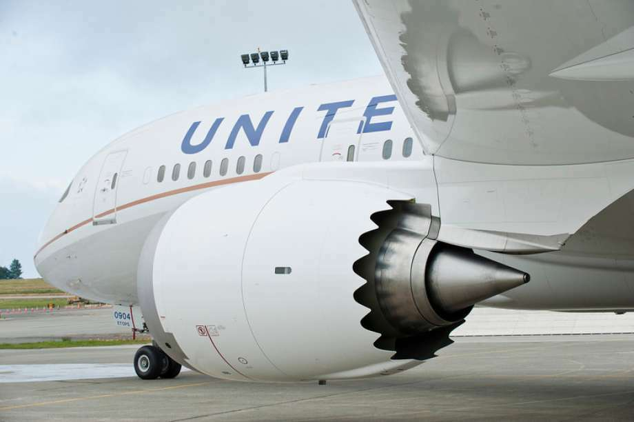 United's Boeing 787 Dreamliner with a toothy edged engine has economy seats configured 3-3-3 Photo: United Airlines