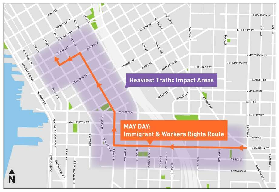 The 2018 May Day March for Workers and Immigrant Rights will follow a route from Judkins Park to Second Avenue and Spring Street on Tuesday. The route will surely back traffic up and may not strictly follow that shown on the map above. Other events could impact it further. Photo: Seattle Police Department/SDOT