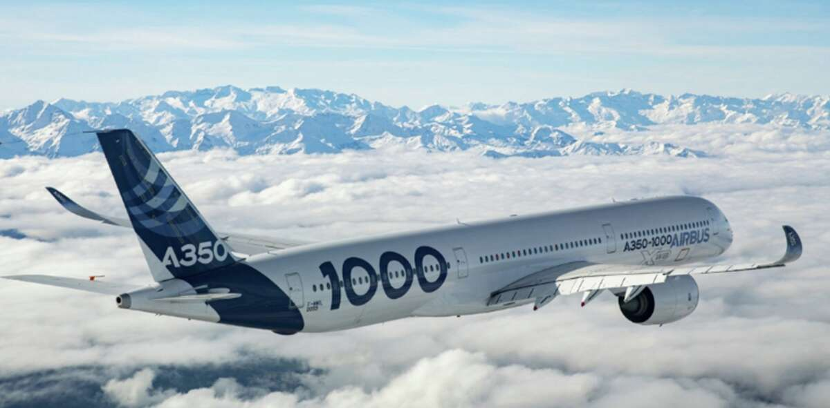 Airbus A350- see how the tail cone angles up at the back?